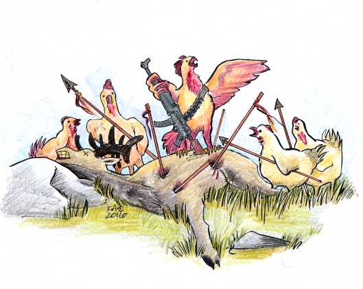 Slightly bloodier version of the black and white chickens hunting moose