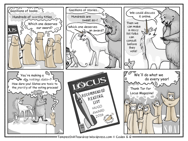Sarah, Kate and Larry discover that Sad Puppy reading lists are bad but Locus reading lists are good.
